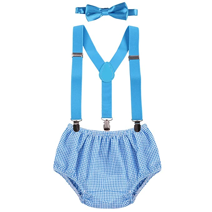 Newborn Infants Baby Boys Kids Toddlers 1st 2nd Birthday Cake Smash Bloomer Shorts Bow Tie Photo Props Formal Gentleman Outfit Suit 3pcs Set