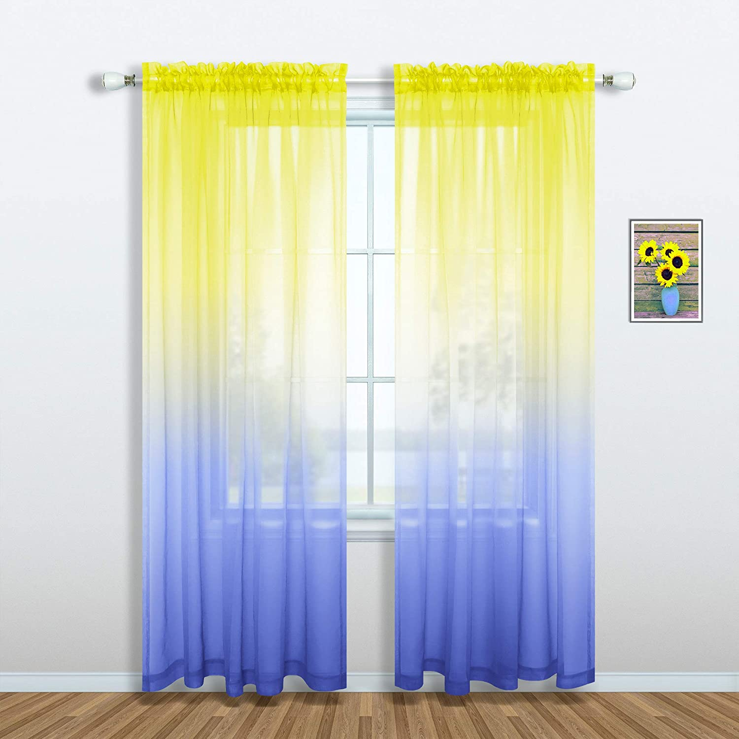 Blue and Yellow Curtains for Girls Bedroom Decor Set of 1 Sheer Panel Pocket Flower Ombre Gradient Yellow Sunflower Curtains for Living Room Dining Girls Room Teen Decorations 52 x 84 Inch Length