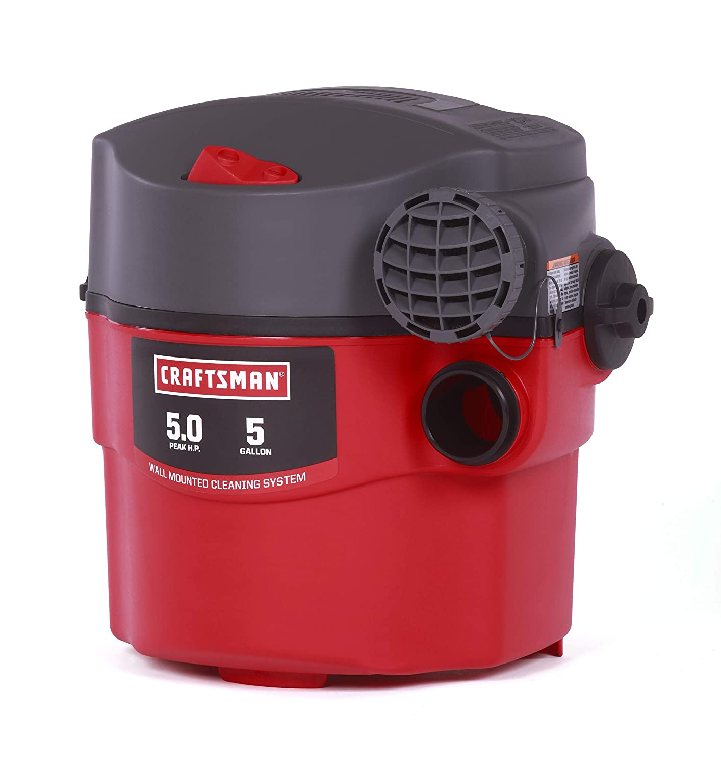 CRAFTSMAN 17925 5 Gallon 5 Peak HP Wet/Dry Wall Vac, Wall-Mounted Shop Vacuum with Attachments