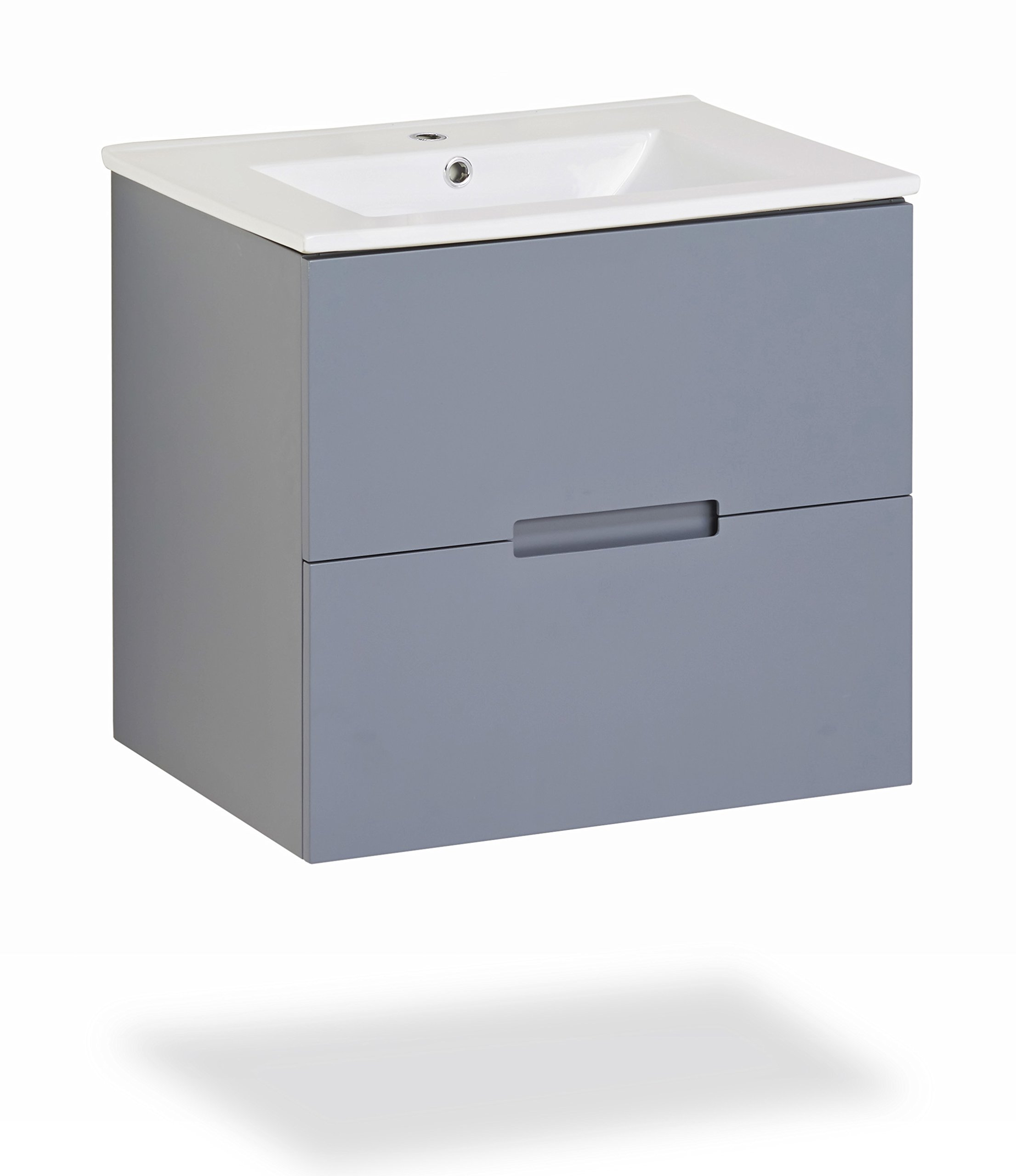 Sasha 24'' Floating Wall-Hung Gray Bathroom Vanity with Top (Sink)