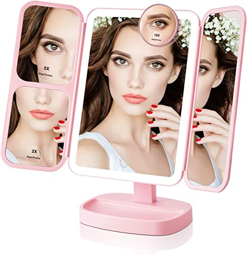 EASEHOLD Makeup Mirror with Light 1X 2X 5X 10X Magnification Lighted Mirror 38 LED Vanaity Mirror with 180 Degree Rotation Dual Power Supply Touch Screen Portable Cosmetic Mirror