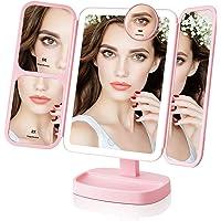 EASEHOLD Kosmetikspiegel mit LED Licht und Vergrößerungsspiegel, Schminkspiegel Beleuchtet für Schminken, Rasieren und Tragen der Kontaktlinsen,Touchschalter für Dimmbare Heilligkeit