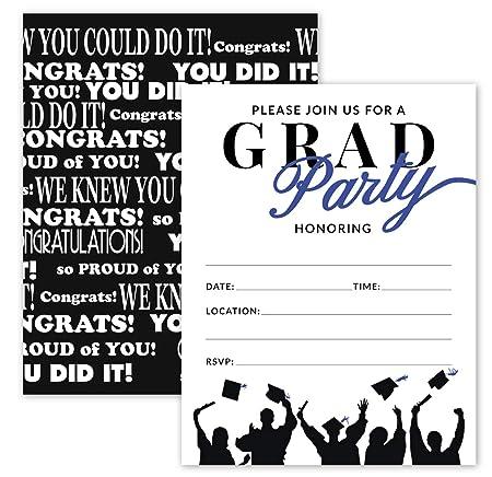 25 Invitaciones De Fiesta De Graduación En Azul Y Negro Con