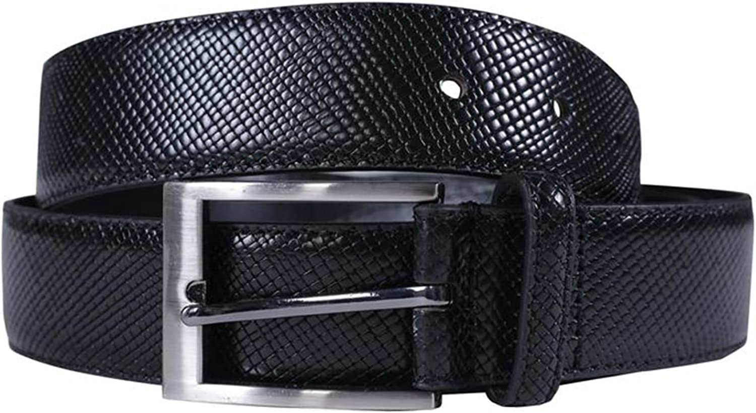 Chocolate Pickle New Mens Bonded Genuine Leather Snake Skin Textured 35mm Wide Buckle Belts S-3XL