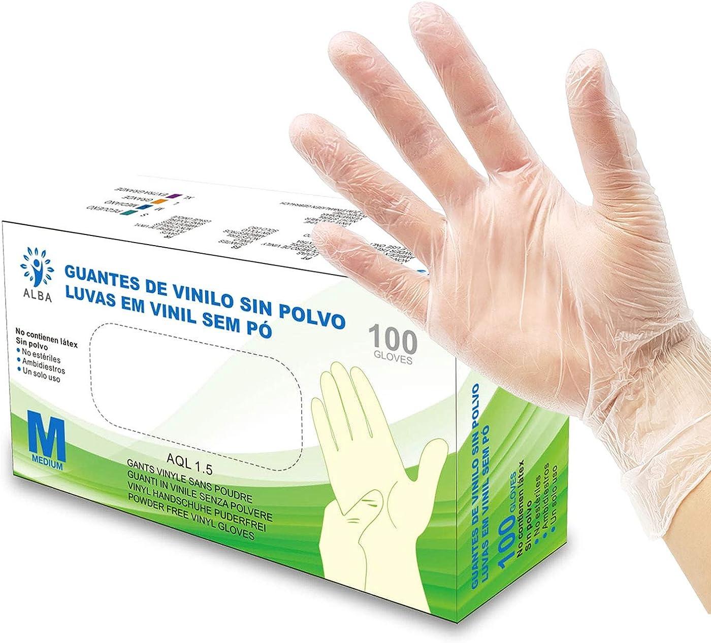 Guantes de Vinilo Sin Polvo 100 Unidades - Talla M - AQL 1.5 Guantes Desechables Ambidiestros Reciclables. Ideales para Uso de Alimentos, Limpieza, Bricolaje, Belleza, Industrial y Sanitario: Amazon.es: Ropa y accesorios