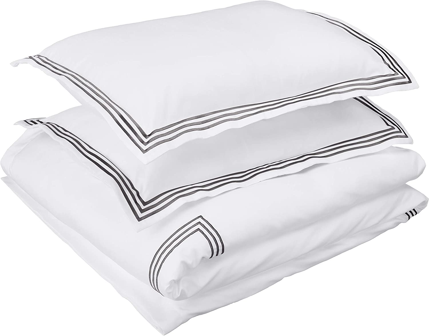 AmazonBasics Embroidered Hotel Stitch Duvet Cover Set - Premium, Soft, Easy-Wash Microfiber - Full/Queen, White with Dark Grey Embroidery