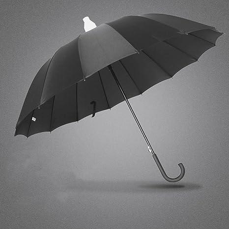 XXHDYR Paraguas Impermeable Automático Grande Coche Reforzado Paraguas Largo A Prueba De Viento Grande Negro Tres