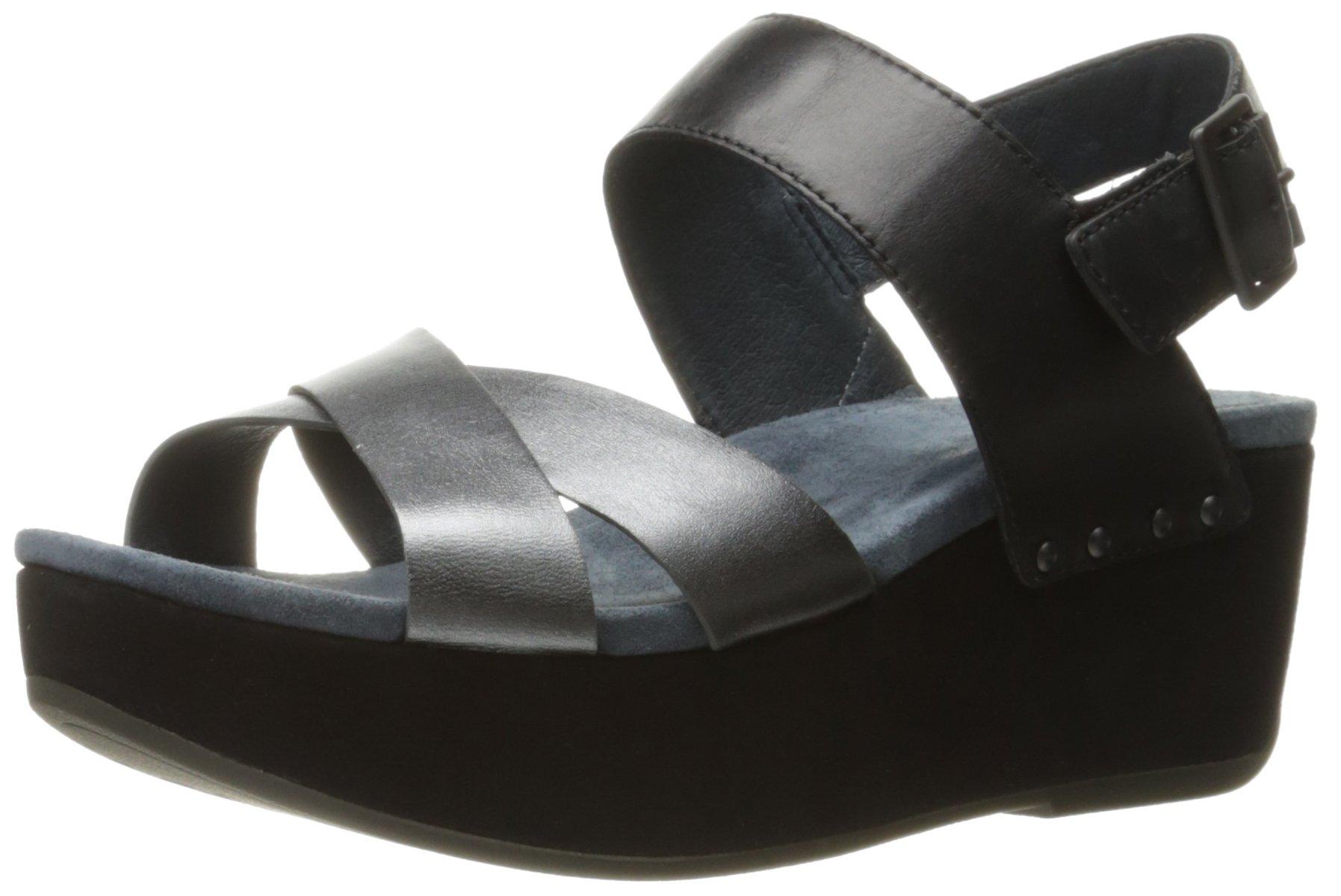 Dansko Women's Stasia Platform Sandal, Black/Pewter Burnished, 40 EU/9.5-10 M US