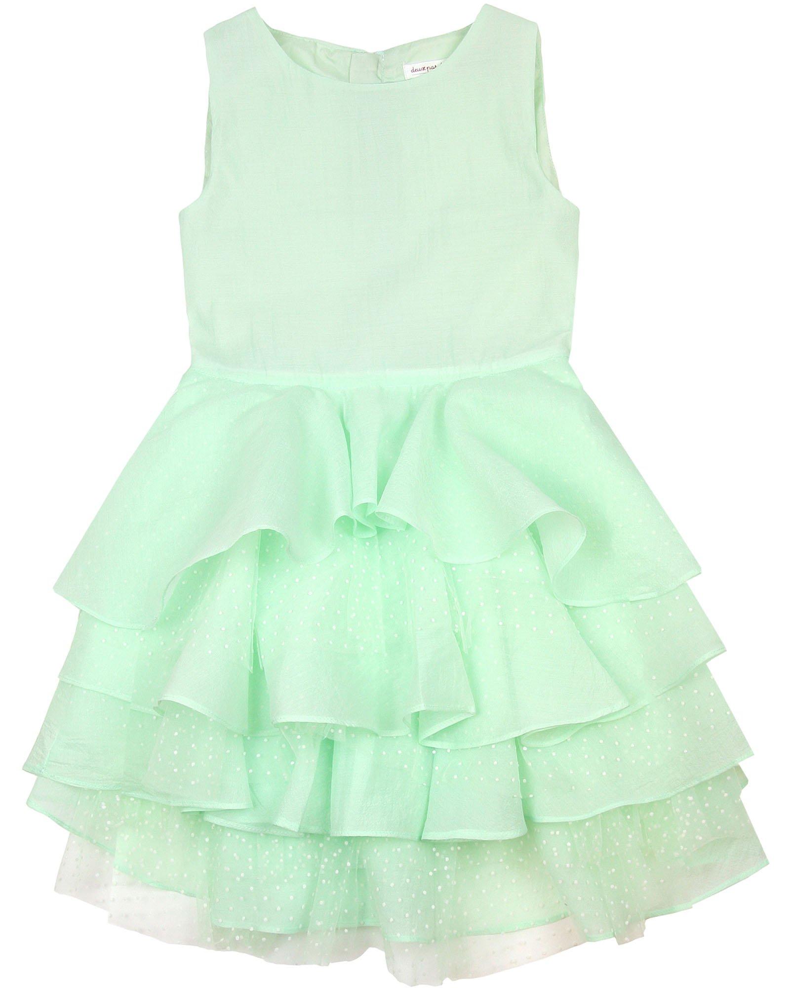 Deux par Deux Girls' Green Flounce Dress Oscar Nights, Sizes 4-12 - 10