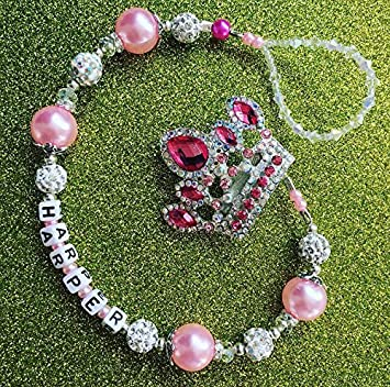Dummy holder clip girls Bling pink crown Bling Crystal Romany custom name romany