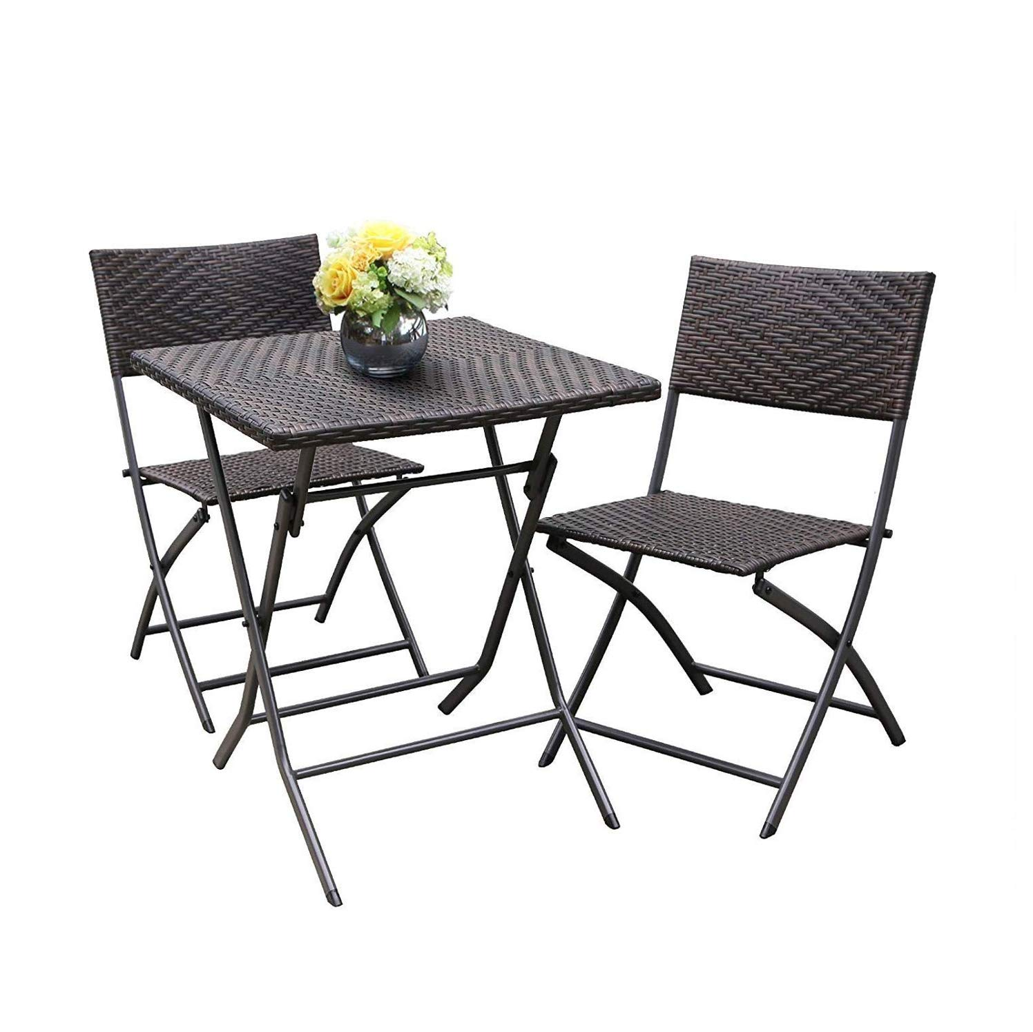 HL Patio Resin Rattan Steel Folding Bistro Set, Parma Style, All Weather Resistant Resin Wicker, 5 PCS 3PCS Set of Foldable Table and Chairs, Color Espresso Brown, 3-Year Warranty, No Assembly Needed