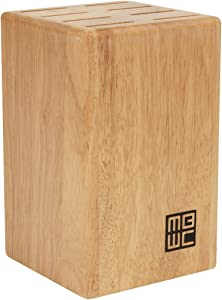 """Miracle Blade 8-Piece Steak Knife Block for 4"""" Steak Knives, Wood Natural Finish"""