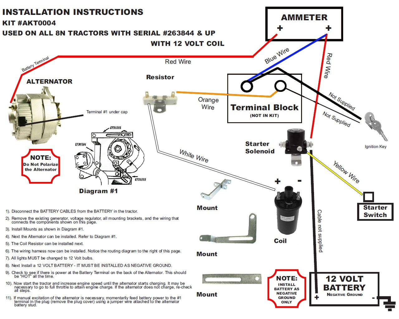 Ford 8n 6 Volt Generator Wiring A Single Terminal Data Coil Diagram For Amazon Com New Alternator Fits Conversion Kit