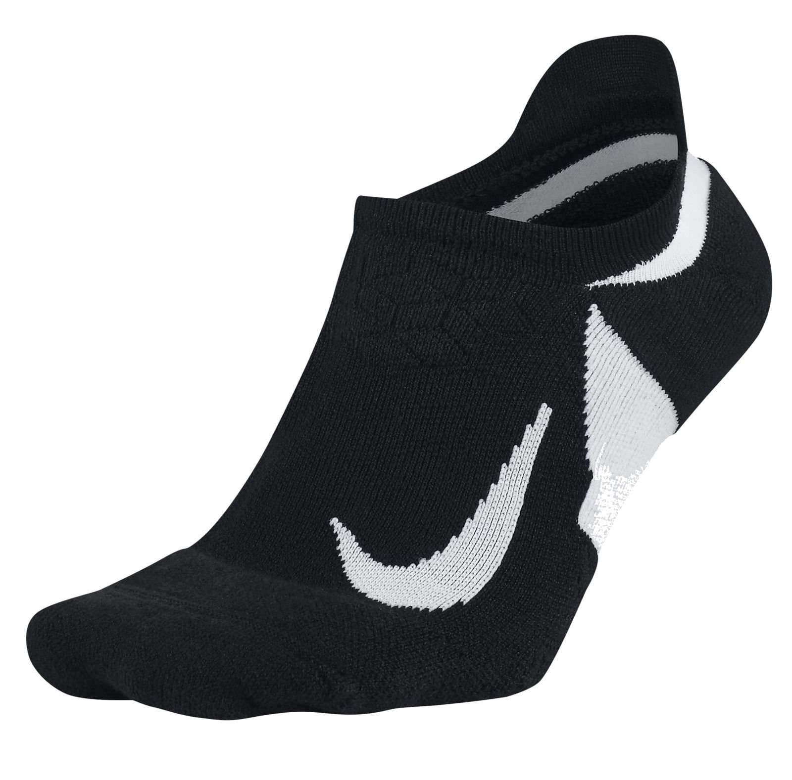 NIKE Unisex Spark Cushioned No-Show Running Socks, Black/White/White, Size 8-9.5