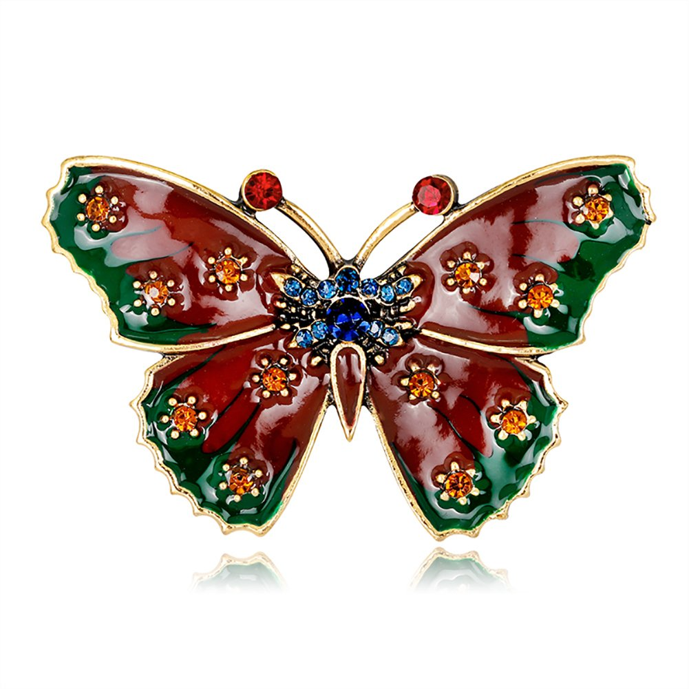 MSYOU Alloy Brooch Elegant Butterfly Shape Brooches Novelty Pin Badge Accessories for Clothes Shirt Coats Tie Hats Caps Bags(Red)