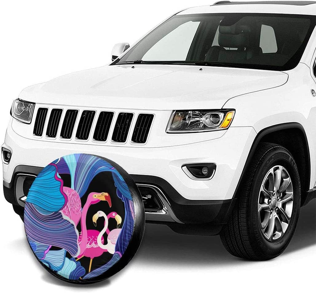 14 15 16 17 Inch Gggo Bahama Leaf Topical Palm Flamingo Spare Tire Cover Polyester Universal Dust-Proof Waterproof Wheel Covers for Trailers RV SUV Truck and Many Vehicles