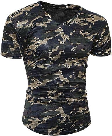 Fashion Mens Short Sleeve T Shirt Fitness Camo Slim Fit Training Basic Sport Tee