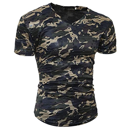 Paymenow T Shirt For Men 2018 New Fashion Men Camo Short Sleeve Tee