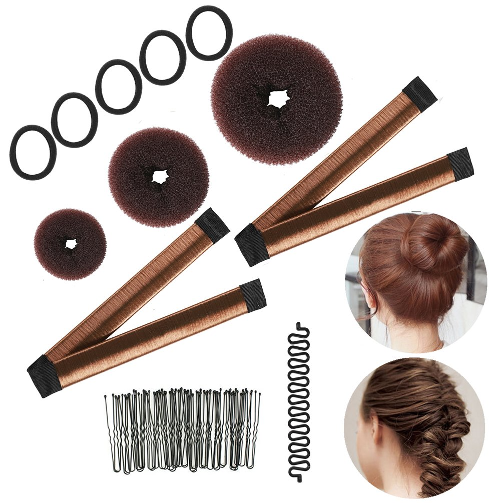 inSowni Magic Hair Styling Kit (French Donut Bun Maker, Braiding Tool, Hair Ties, Hair Pins Clips) for Women Girls Kids (Brown Set)
