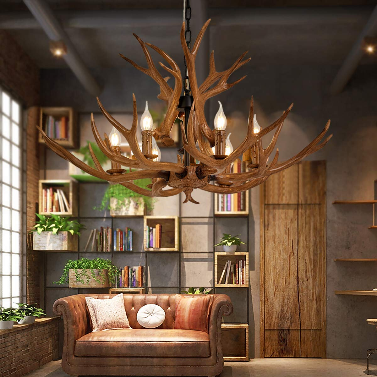 Light Antler Chandeliers Fixtures Resin Deer Antlers Dining Room Lighting Fixtures Hanging Indoor Decorative Twig Lights for Living Room/Bar/Cafe/Dining Room