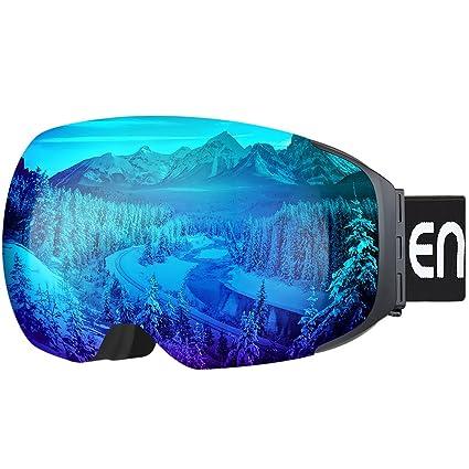 ENKEEO Ski Goggles - Detachable Dual Layer Anti-Fog Magnet Lens