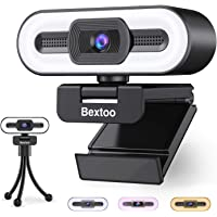 1080P Webcam with Microphone and Ring Light, Streaming Webcam USB Plug and Play, HD Web Camera Auto-Focus Adjustable…