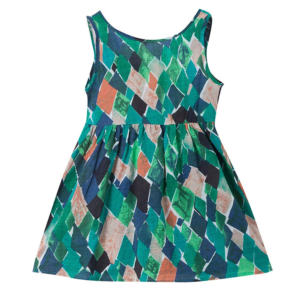 2019 Toddler Kids Baby Girl Boho Girls Dress Print Sleeveless Strap Dress Sundress Bandage Dress (Green, Age:3-4 Years)