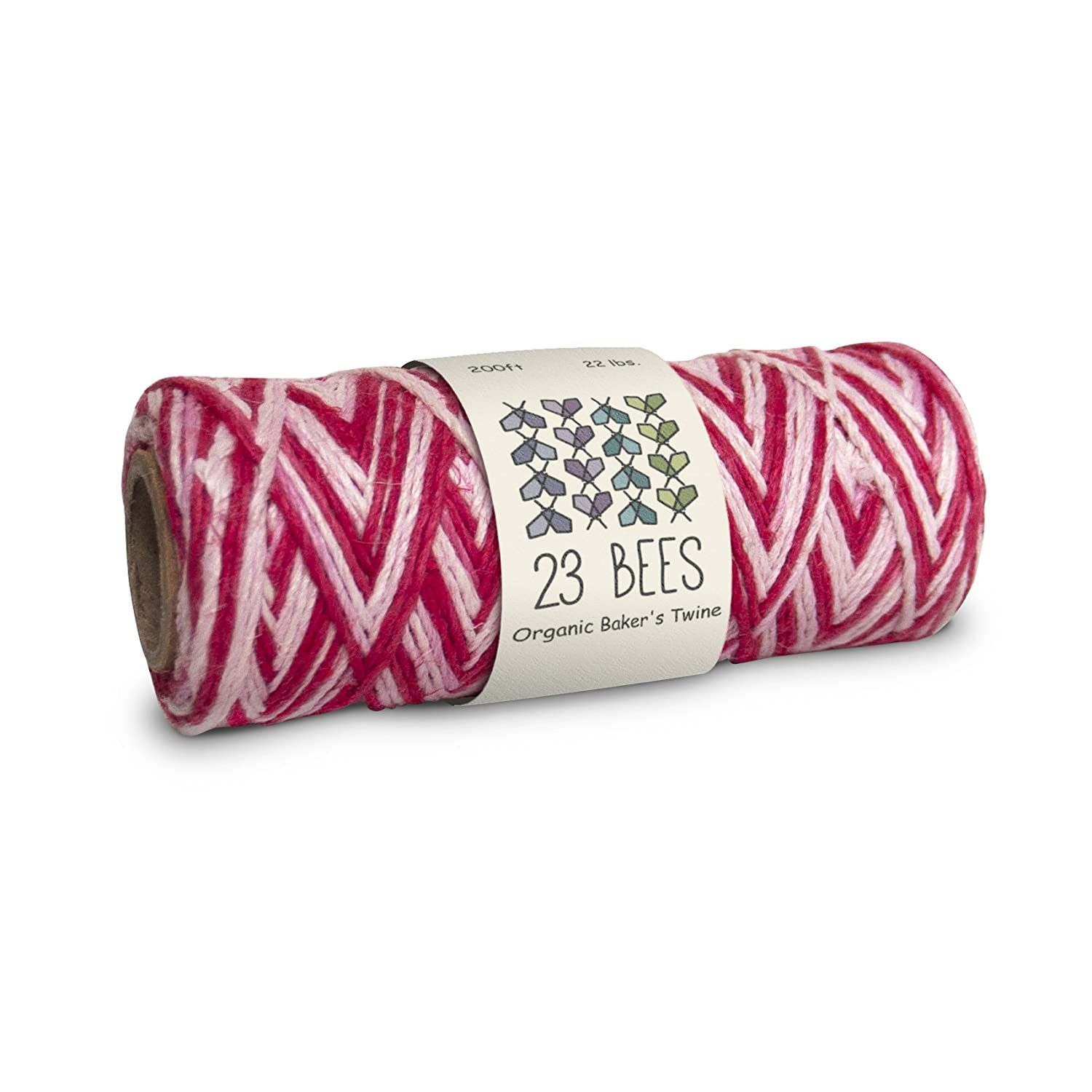 100% Organic Hemp Cord | 23 Bees (200ft x 22 lb. (Red and White))
