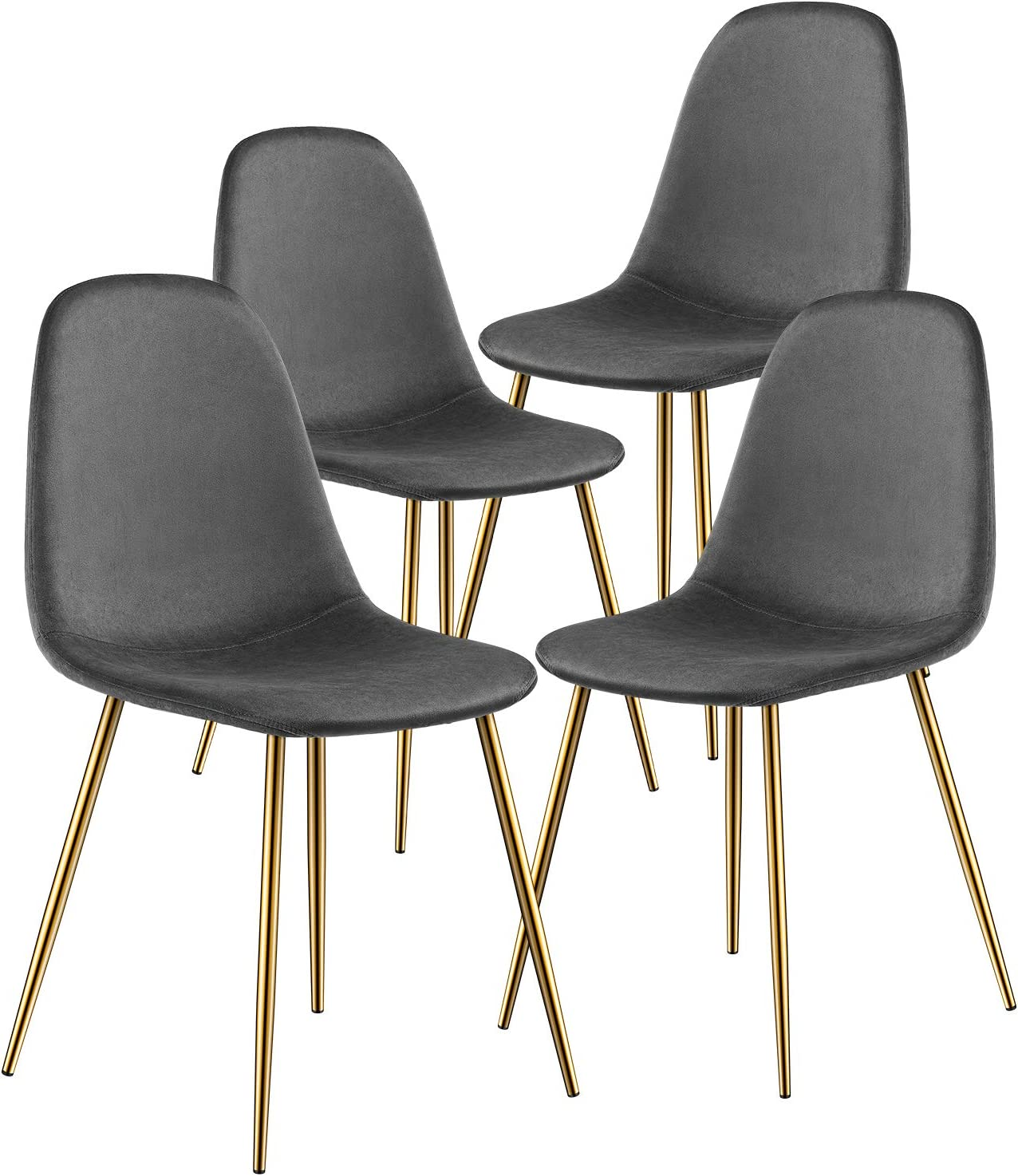 Kealive Dining Chair for Kitchen Dining Room Set of 4 Mid Century Modern Side Chairs with Golden Metal Legs, Velvet Fabric and Soft Upholstered Seat, Grey