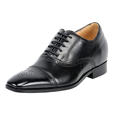 51e3751e04 Amazon.com | Men Leather Soles Height Taller Increasing Elevator Dress  Shoes Oxford Lace Up 3 Inch Adding High | Walking