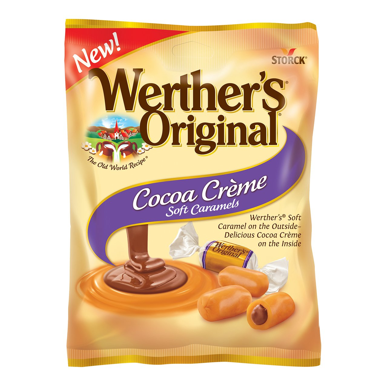 WERTHER'S ORIGINAL Cocoa Crème Soft Caramels, 4.51 Ounce Bag (Pack of 12), Bulk Candy, Individually Wrapped Candy Caramels, Caramel Candy Sweets, Bag of Candy