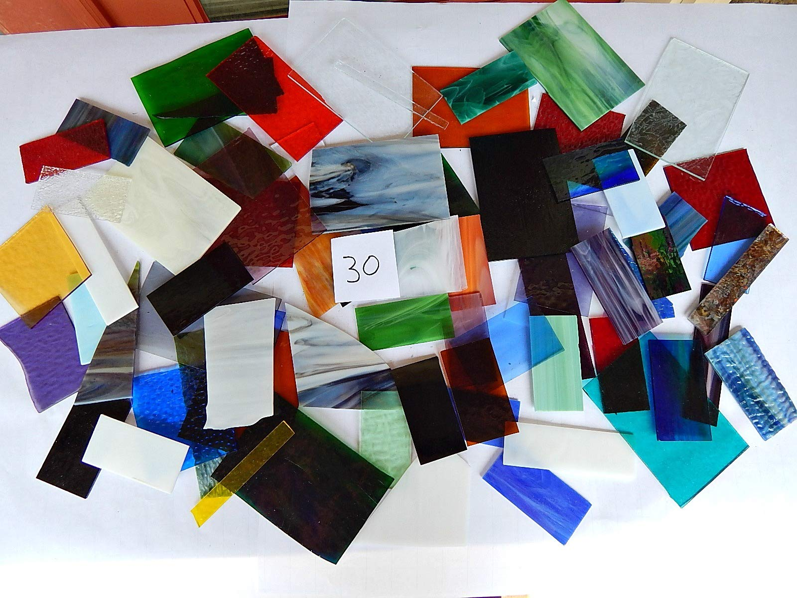 Over 10 LBS Larger Pieces Spectrum Wissmach Stained Glass Mosaic Scrap LOT#30