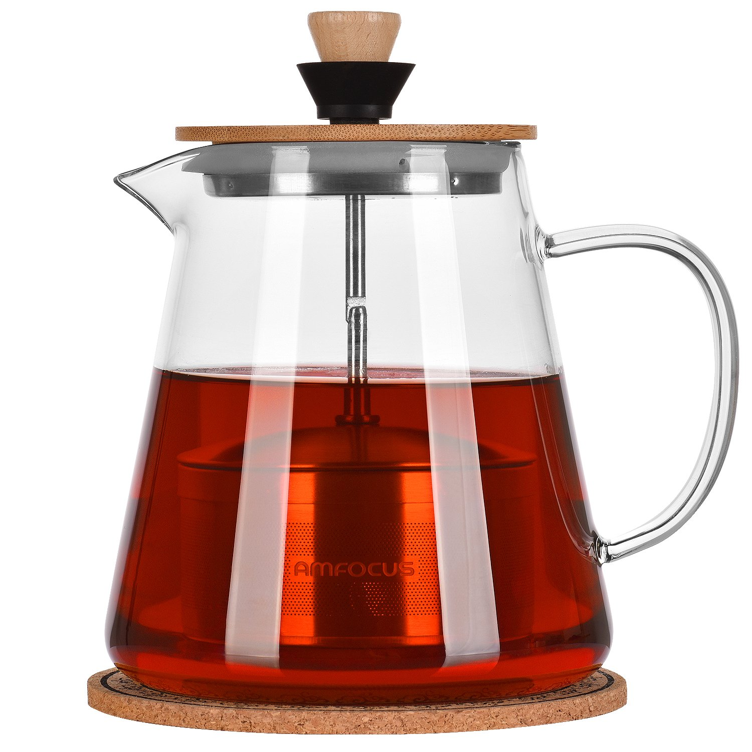 Glass Teapot with 18/10 Stainless Steel Tea Infuser,Blooming and Loose Leaf Teapots,Borosilicate Glass Tea Maker 32oz, Glass Tea Kettle Stove Top
