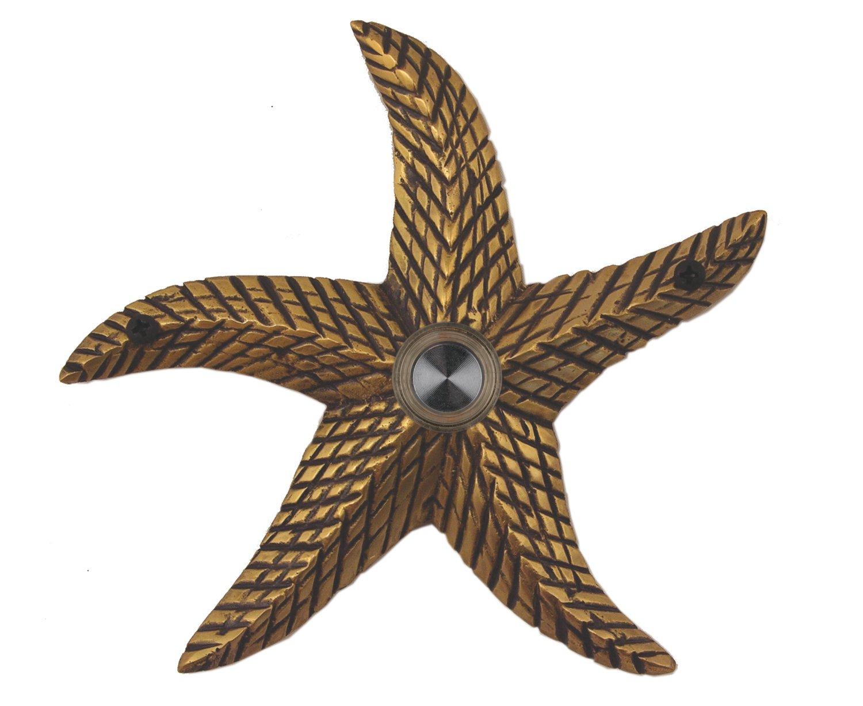 Waterwood Solid Brass Starfish Doorbell in Antique Brass