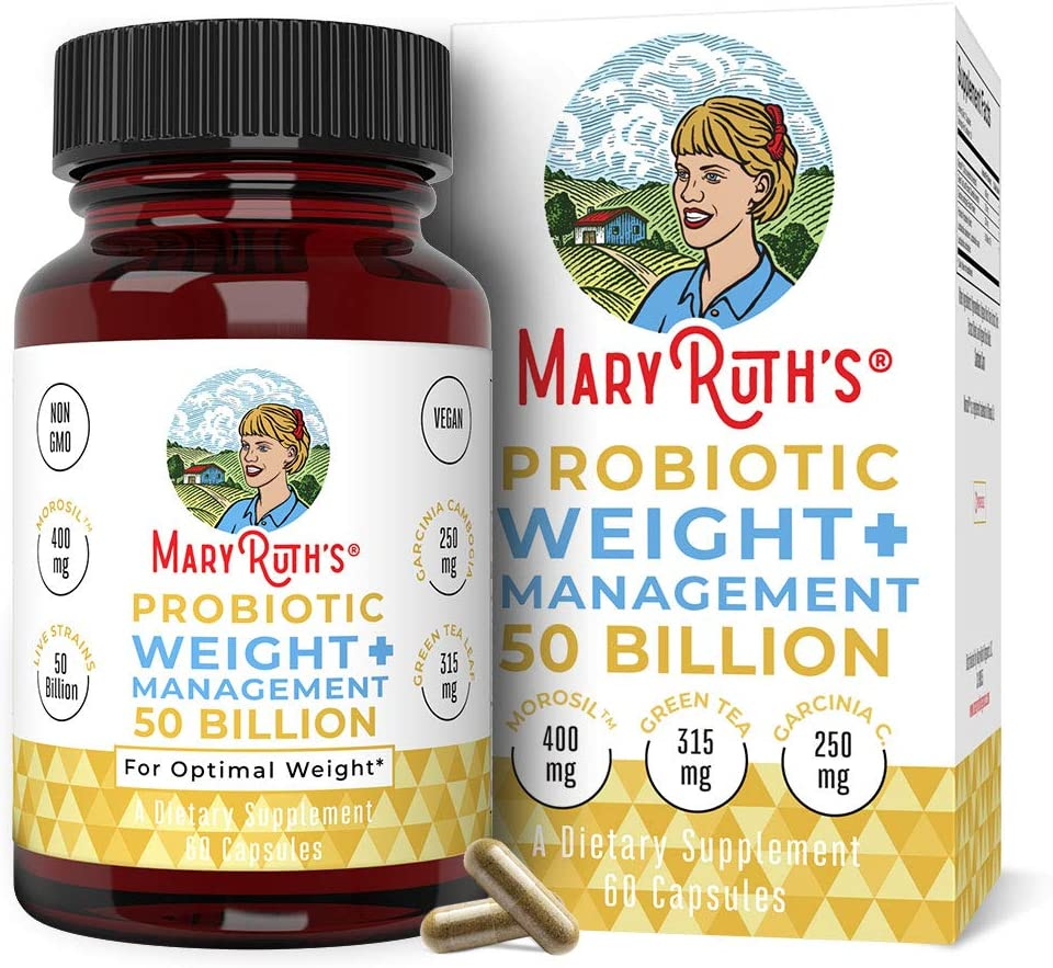 Probiotic Weight Management+ by MaryRuth's - 50 Billion CFU - Vegan Gut Health Supplement with Morosil, Garcinia Cambogia & Green Tea - Weight Loss Probiotics - 60 Ct