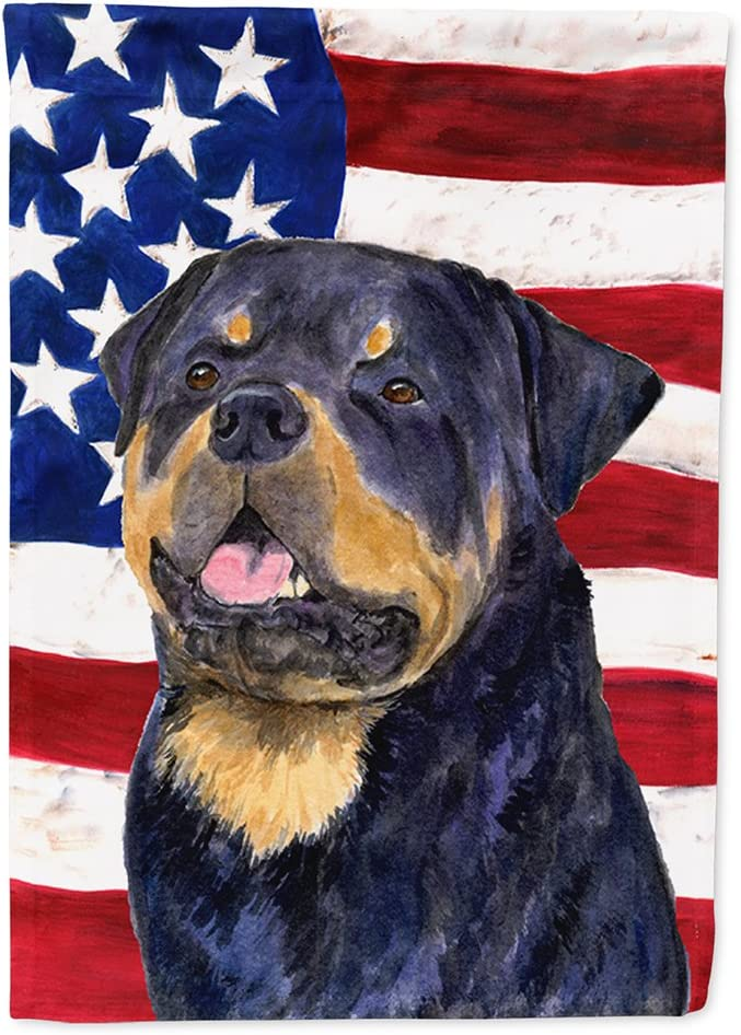 Caroline's Treasures SS4009GF USA American Flag with Rottweiler Flag Garden Size, Small, Multicolor
