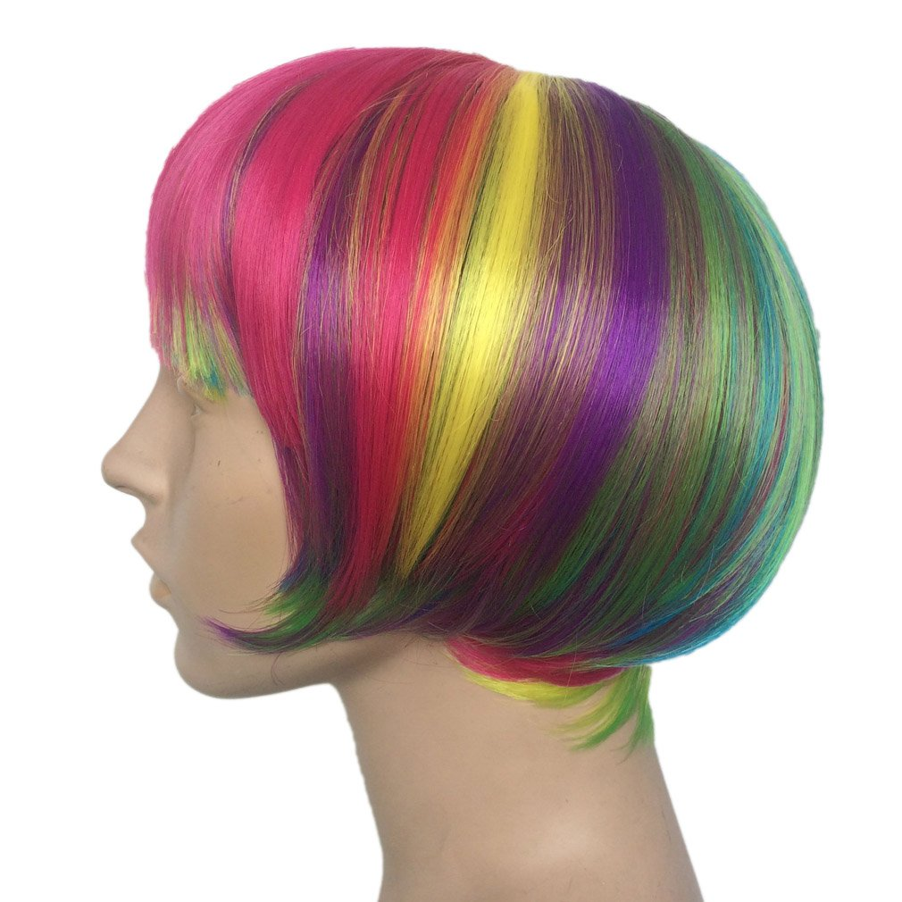 Short Rainbow Wig Cosplay Wigs Heat Resistant Synthetic Fiber BOB Hairpiece , Free Wig Cap by Namecute (Image #5)