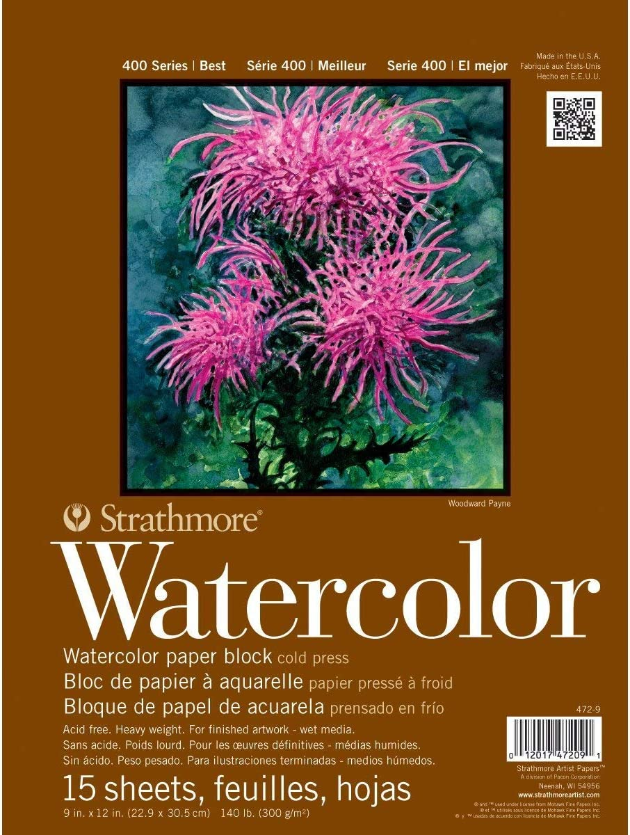 """Strathmore 400 Series Watercolor Block, Cold Press, 9""""x12"""" Bound (4 sides), 15 Sheets/Block"""