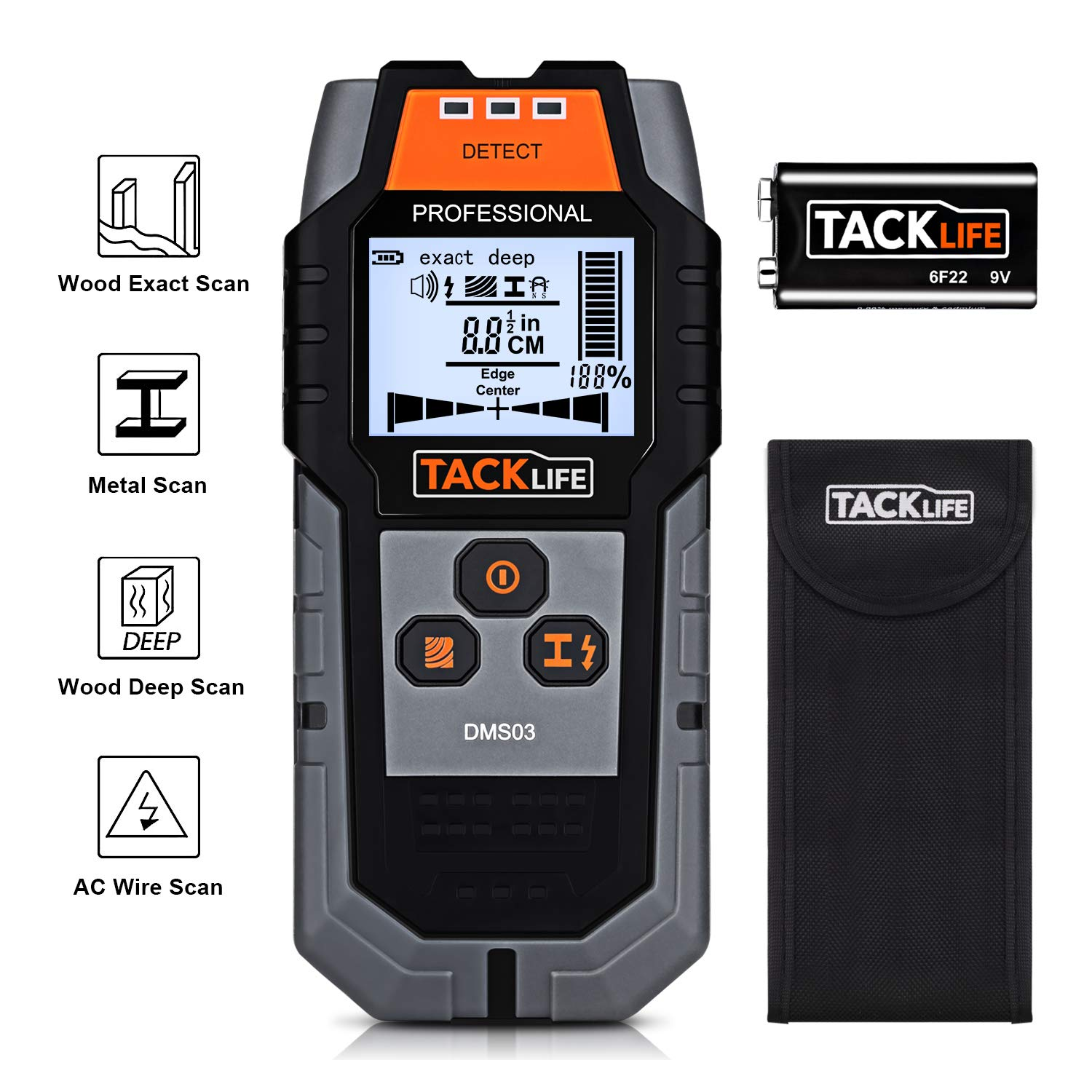 TACKLIFE Stud Finder Wall Scanner, 4 in 1 Center Finding Electronic Wall Detector Finders with Sound Warning, Four Scan Modes for Wood Stud/Metal/Live AC Wire/ Deep Detecting - DMS03
