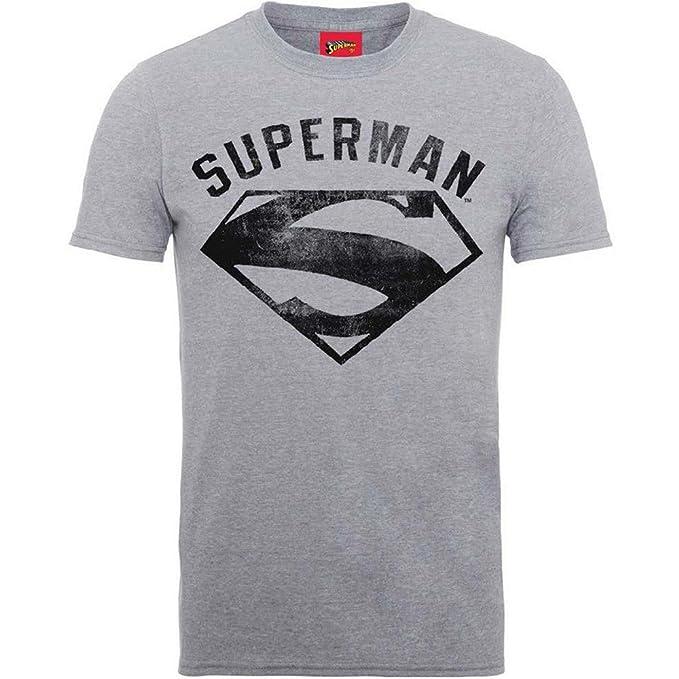 Superman Logo Spray, Sudadera para Hombre, Gris (Grey Grey), XX-Large DC Comics