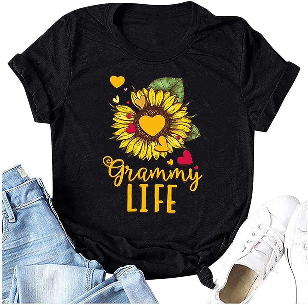 Mlide Summer Womens Tops Casual Sunflower Letter Print T-Shirt Fashion Short Sleeve Blouse for Teen Grils Tee