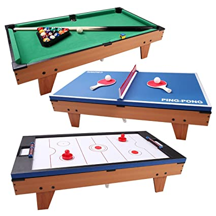 BeUniqueToday 3 In 1 Air Hockey Ping Pong Billiard Multi Functional Table,  Rotating Game