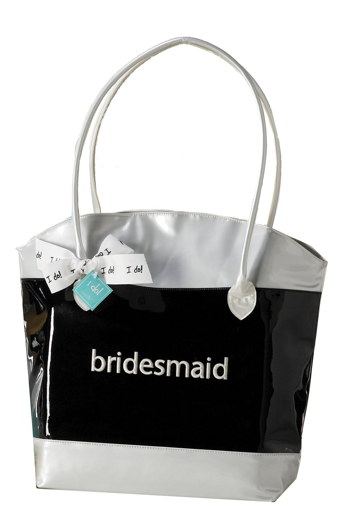 Mud Pie Wedding Something Blue Tote Bag, Bridesmaid, Black and White