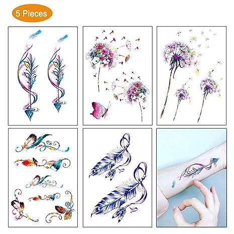 Fangcheng Etiqueta Engomada Tatuaje 5 Piezas - Brazo Flores ...