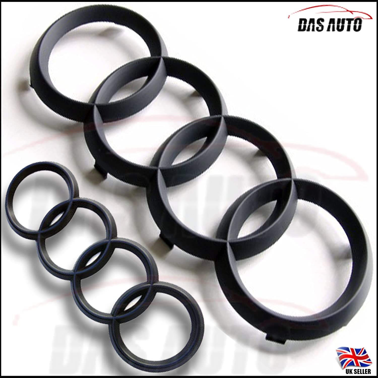 Das Automotive Matte Black Front Grill /& Rear Rings Badge Emblem