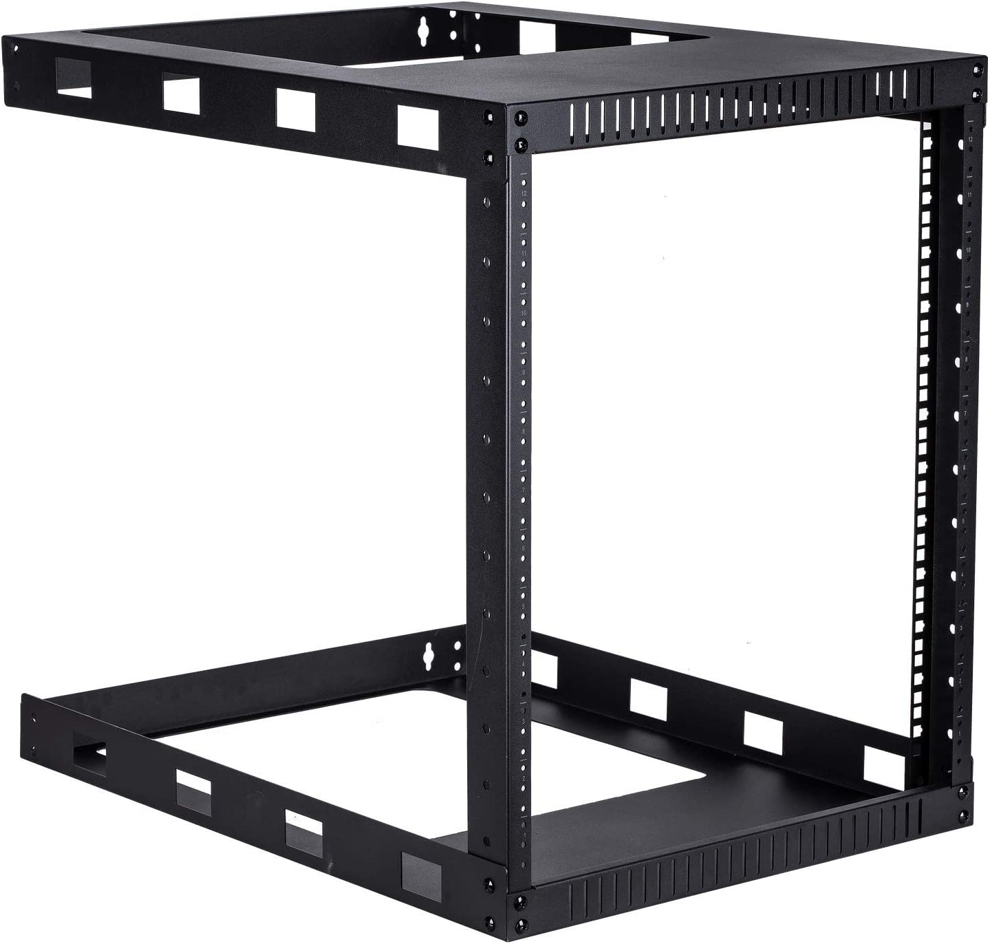 Kenuco Black 12U Wall Mount Open Frame Steel Network Equipment Rack 24 Inch Deep - Black - 12U Deep - W19'' x D24'' x H24.5'' (DEEP-12U)