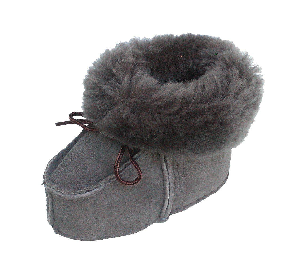 warme Lammfell Babyschuhe grau mit Fellkragen und Kordel, Gerbung ohne schädliche Stoffe, Gr. 17-18
