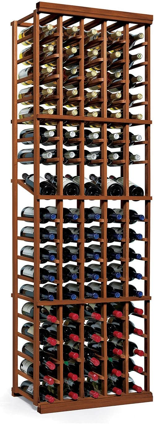 N'FINITY Wine Rack Kit - 5 Column with Display - Dark Walnut - Solid Mahogany