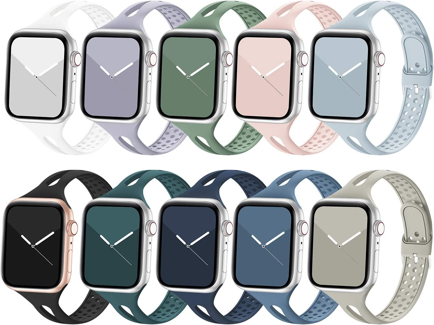 Bandiction Compatible with Apple Watch Bands 42mm 44mm Series 5 Series 3 Women Slim Silicone Sport Band Breathable iWatch Bands Narrow Replacement Strap for iWatch Series 6 SE 5 4 3 2 1, 42/44mm