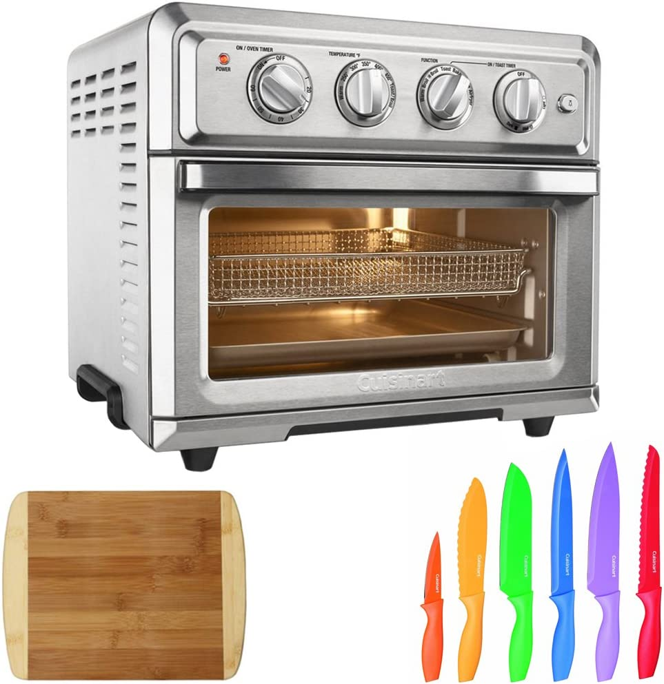 Cuisinart Convection Toaster Oven Air Fryer with Light, Silver TOA-60 Advantage 12-Piece Knife Set Home Basics Two Tone Bamboo Cutting Board
